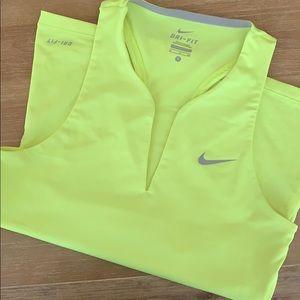 Nike neon yellow drifit tank